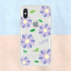 Love Purple Flower Peattern 투명젤리 케이스